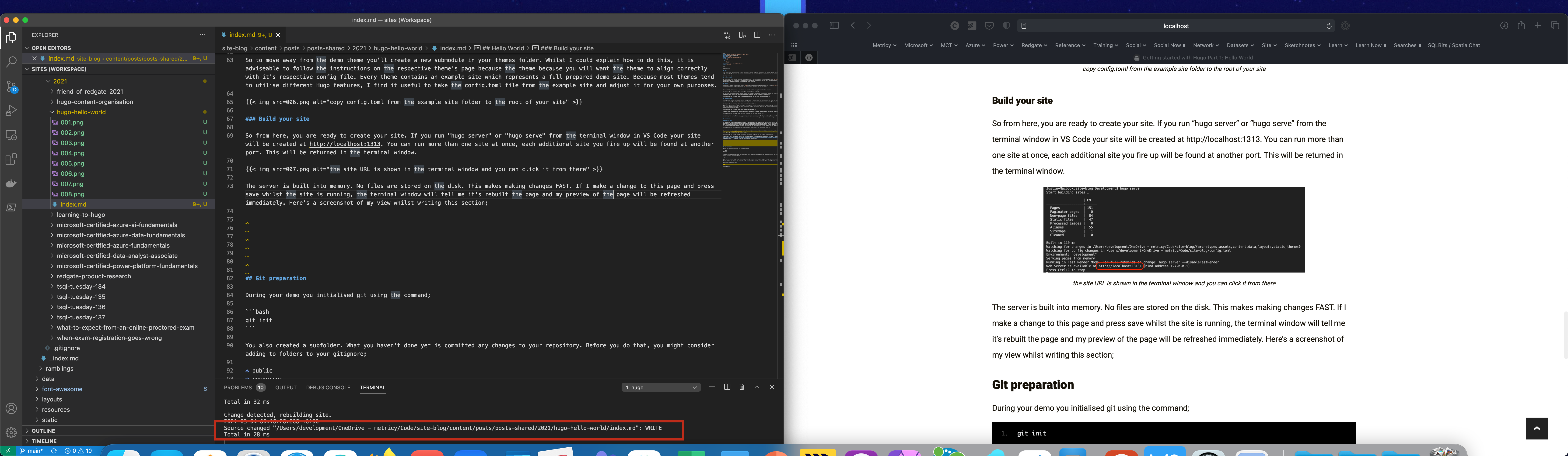 the image shows the raw text and the built website side by side